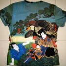 Hayabusa Samurai Japan Hand Print Ukiyoe Art T Shirt Misses L