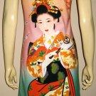 Geisha with Sensu Japan Art Print Dress L Large Misses Size 12-14