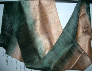 Thai Silk Fabric Scarf Shawl Variegated Golden Brown and Black 1-2