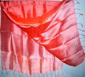 Thai Large Silk Fabric Scarf Shawl Bright Variegated Pinks 1-3