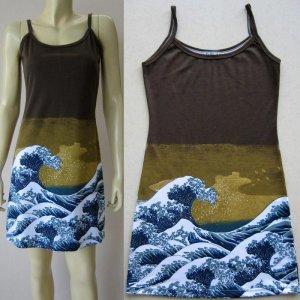 GIANT WAVE Hokusai UKIYOE Japan Art Print Dress Misses L Large Size 12-14