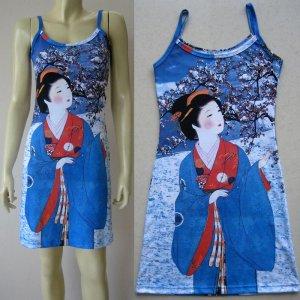 WINTER SNOW GEISHA New Japan UKIYOE Art Print Dress Misses Size L 12-14