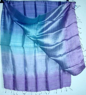 Thai LARGE Hand Crafted Raw Silk Fabric Scarf Shawl Violet Lavender Blue