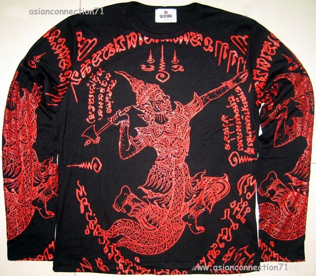 Thai RAMASOON THUNDER GOD New Long Sleeve Yaan Tattoo T Shirt XL Red on Black