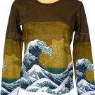 GIANT WAVE Hokusai Ukiyoe LONG SLEEVE Japan Fine Art Print T Shirt Misses XL