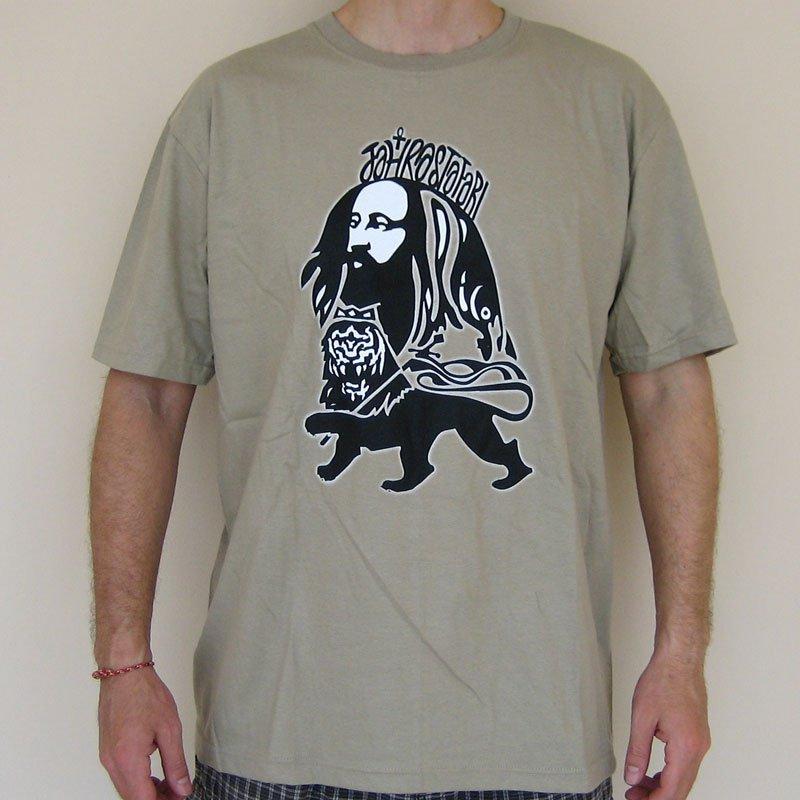 JAH RASTAFARI Roots Rasta Irie Dub REGGAE T-Shirt L Large Beige Khaki Tan