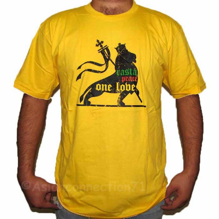 RASTA PEACE ONE LOVE LION of Judah Roots REGGAE T-Shirt Extra Large XL Yellow