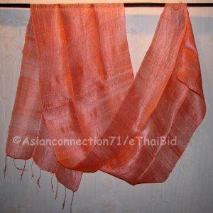 Thai Silk Fabric Scarf Shawl Hand Craft PEACH Pink Direct from Thailand