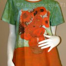 Van Gogh SUNFLOWERS Tournesols T Shirt Cap Sleeve Fine Art Print Misses XL Extra Large