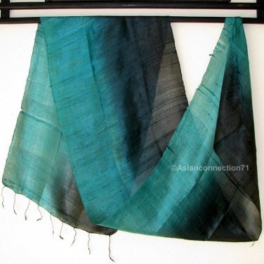 Thai Silk Fabric Scarf TEAL GREEN and INDIGO BLACK Thailand Siam Textile Shawl