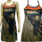 THE SCREAM Edvard Munch Hand Print Fine Art Dress Misses Size S Small 4-6