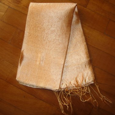 Thai Silk Fabric Scarf Shawl Wrap Hand Craft Large GOLDEN PEACH Textile