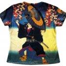 KABUKI Ukiyoe Japan Art Print Short Sleeve T Shirt MISSES Size M