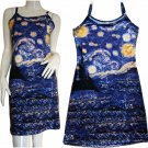 STARRY NIGHT Van Gogh Hand Print Art Tank Dress Misses L Large 12-14