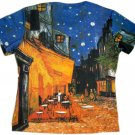 Van Gogh CAFE TERRACE at NIGHT Cap Sleeve Art T Shirt Misses M Medium