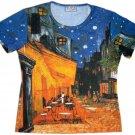 Van Gogh CAFE TERRACE at NIGHT Cap Sleeve Art T Shirt Misses S Small