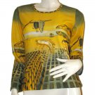 Salvador Dali DISINTEGRATION of Memory Long Sleeve Art Print Shirt Misses Size XL