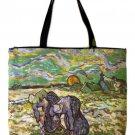 VAN GOGH Peasant Women In Snow Hand Print Art Bag Purse Messenger Tote L Large