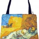 Van Gogh LA SIESTE Hand Print Art Bag Purse Tote Messenger S Small