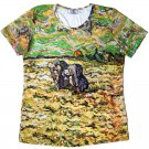 PEASANT WOMEN DIGGING IN SNOW Van Gogh Art Print T-shirt Misses XXL 2XL