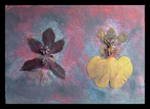 art Aceo Painting Orchid collage FREE SHIPPING !!!