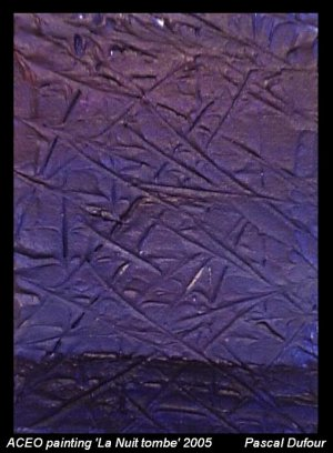 Aceo Painting La nuit tombe 2005 Landscape, artist from Québec free shipping