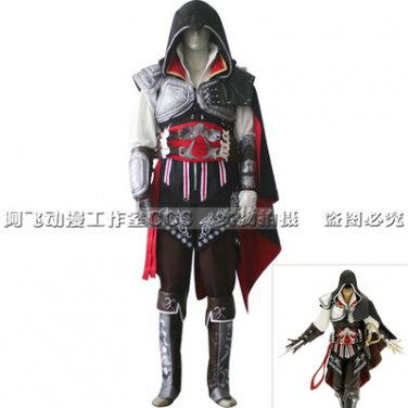 Assassin's Creed II Cosplay Ezio Auditore da Firenze Black Costume