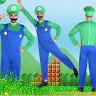 Super Mario Bros Mario Men's Green Cosplay Costume