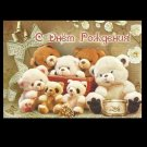 BEARS BASKET AND DRUM RUSSIAN LANGUAGE CHILDRENS BIRTHDAY CARD