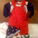 Gap red overalls, shirt and hat