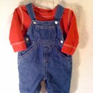 Denim Overalls and Red Shirt size 0-3 month