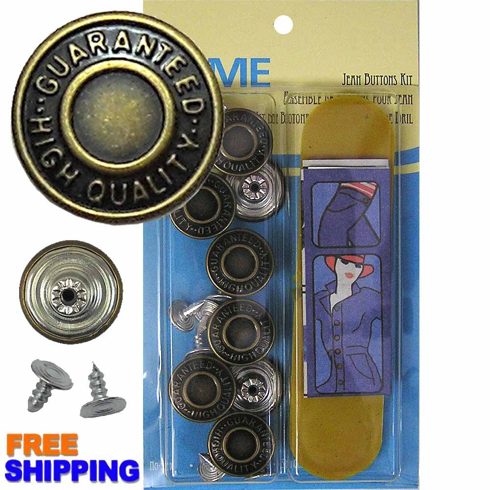 17mm GHQ Brass Jean Buttons 8 Set with Tool