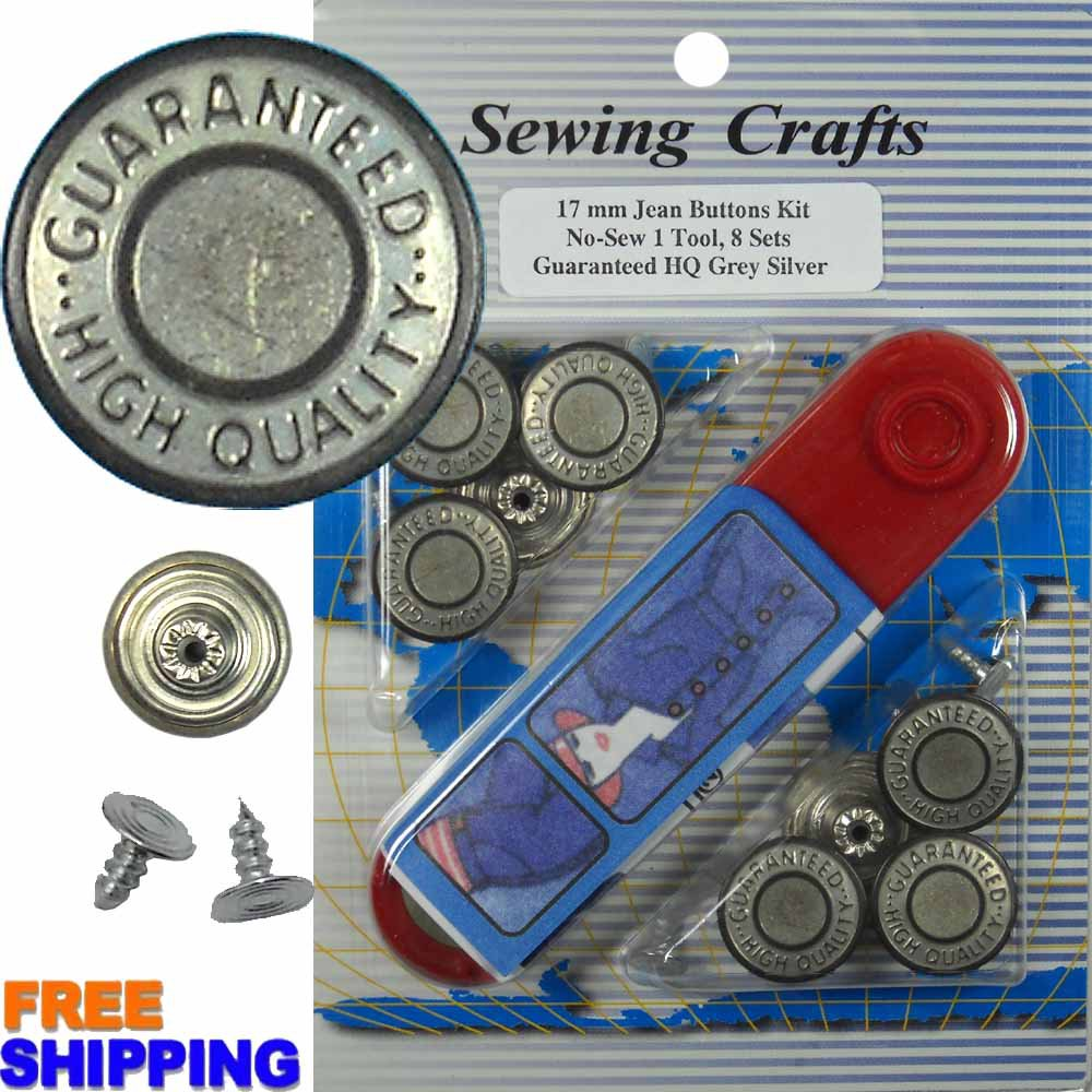 17mm GHQ Grey Silver Jean Buttons 8 Set with Tool