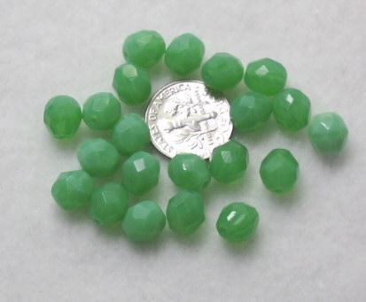 Jade Green Czech Glass 8mm Faceted Firepolish Beads 20