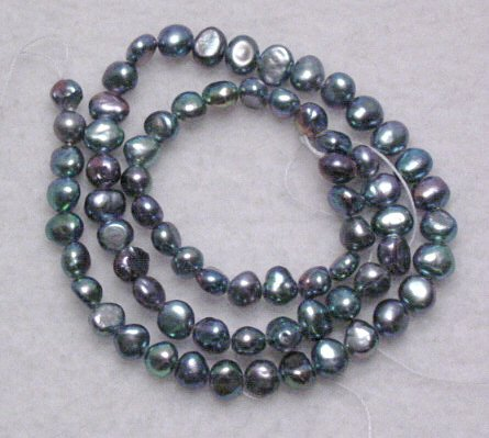 Steel Gray Natural Freshwater Pearl 15 inch strand