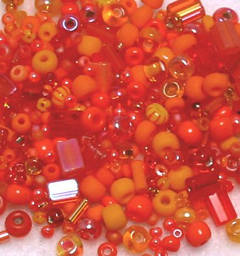 "Electric Orange Glass Seed Bead Mix 6"" Tube"