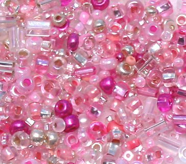 """Frilly Pink Glass Seed Bead Mix 6"""" Tube"""