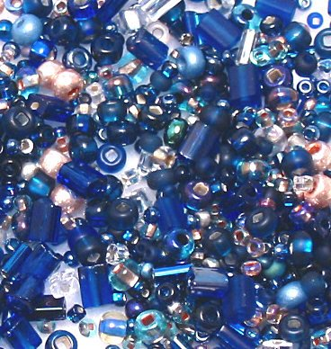 "Midnight Blue Glass Seed Bead Mix 6"" Tube"