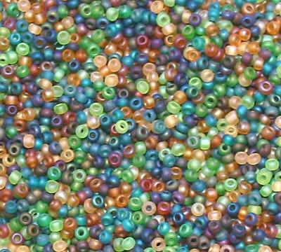 "Rainforest Green Aqua Tan size 11 Seed Bead Mix 6"" Tube"