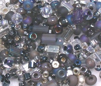 "Heather Gray Glass Seed Bead Mix 6"" Tube"