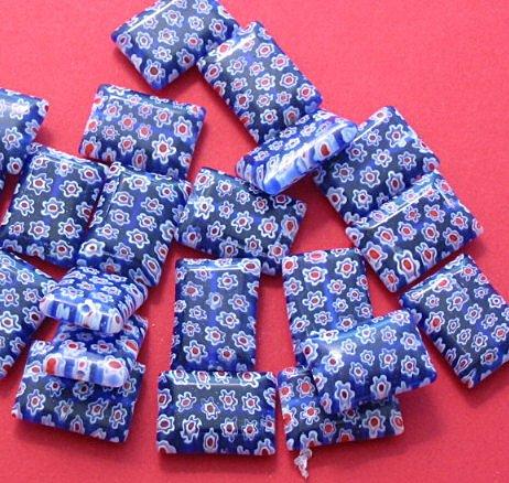 Blue Millefiori Rectangle glass beads strand 20+