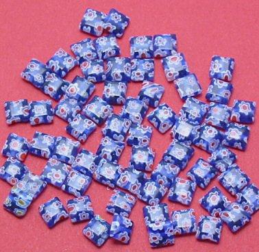 Millefiori Blue Square Bead 5mm strand of 60