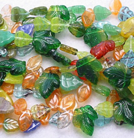 Czech Glass Leaves Bead mix in beautiful colors