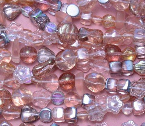Pink Czech glass bead assortment mix