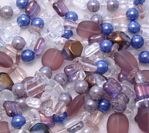 Lavender Ice Czech glass bead assortment mix