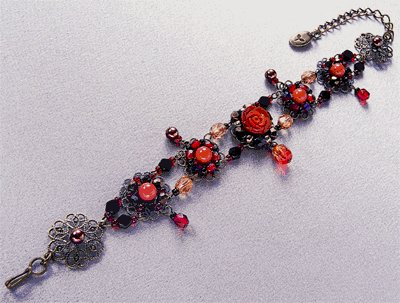 TOHO Elegant Jewelry Kit Glass Coral Roses Bracelet