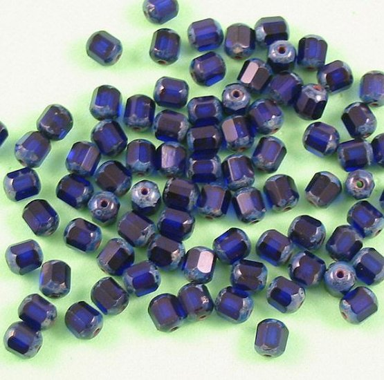 Czech Glass Antique Style Octagon Bead 6mm in Cobalt blue 20