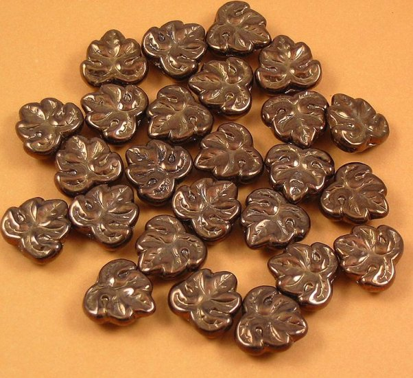 20  Glass Bronze Maple Leaf Beads