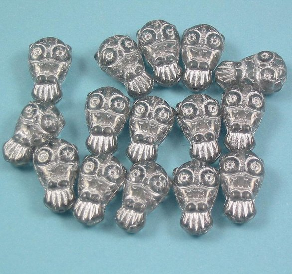 10 clear and silver Glass Owl beads