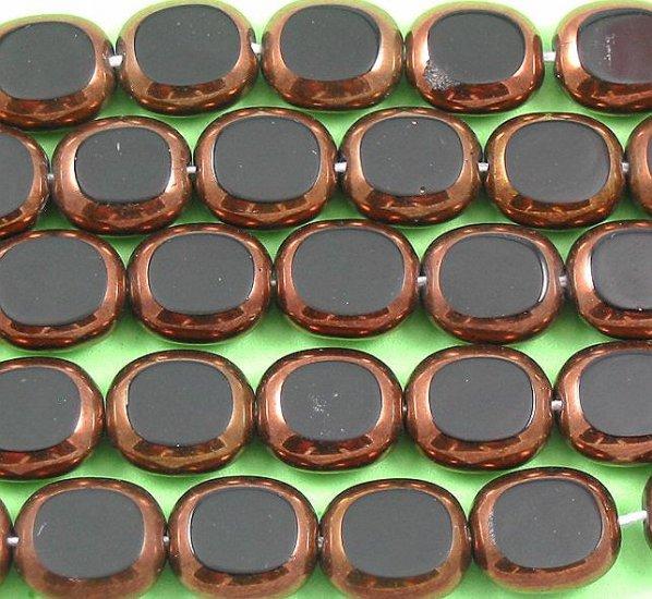 Oval Black and bronze Czech glass window beads